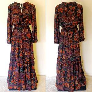 Autumn Harvest Boho Peasant Maxi Dress